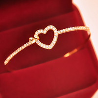 new fashion simple peach heart full diamond bracelet rose beautiful bracelet gold plated high quality chain bracelet