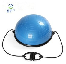 Aofeite fitnss aerobic exercise yoga half balance ball with resistance bands pump