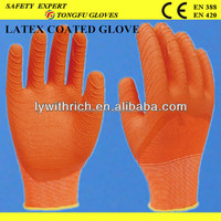sexy layex coated cotton kintted gloves/ orange latex, green latex,yellow latex,etc.