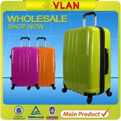 2015 fashion trend business style shiny surface hardshell PC plastic luggage trolley