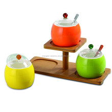 New design Kitchware bamboo tray & ceramic spice jars