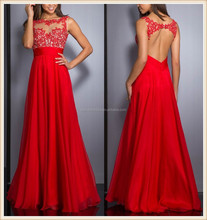 2015 China factory sheer high neck lace appliqued top bodice sexy low open back A-line chiffon long red prom dresses