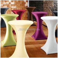 cocktail table stretch cover/pink lycra stretch bar table cover/high top round cocktail table cover