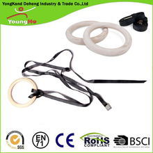 Olympic High Quality New Wooden Gymnastic Rings Crossfit Gym Workout Exercise