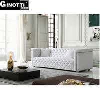 Italian white color chesterfield furniture sofa GPS1081