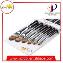 207 Professional Synthetic Art Brush/ Nylon Artist Art Brush/Filbert Wooden Handle Acrylic Art Brush
