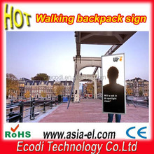 High technology led moving mobile backpack advertising board for promotion