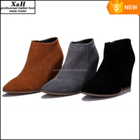 New Fashion 2015 Autumn Point Toe Ankle Boots ,Thick Heel Black ,Brown,Grey Three Classic Suede Leather Women Shoes