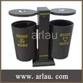 de metal al aire libre reciclados contenedores de basura dobles (Arlau BS33)