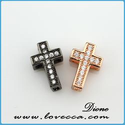black gold Cross Sideway Connector Metal Beads Crystal Pave Rhinestones Spacer Bracelet