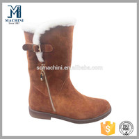 Factory price cheap leather snow boots for women