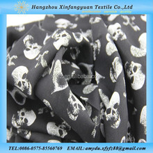 100 rayon printed skull and heart pattern fabric