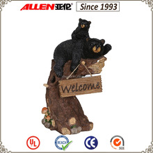 """23.8"""" large climbing on stump black bear family with welcome sign, resin black bear with stump and welcome sign garden decor"""