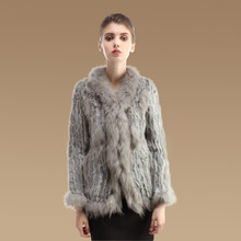 2015 new fashion girl's knitting rabbit fur coat with raccoon fur collar and winter oversize knitted fur coat for women