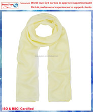 Tender yellow and white background ladies silk scarves,silk neck scarf,ruffled scarf