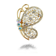 Fashion pearl flying butterfly brooch pin ,top quality brooch pearl butterfyl brooch