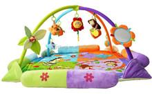 Plush baby play gym mat,plush musical baby play mat with rattles,baby play mat
