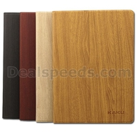 Kakusiga Wood Grain Stand Leather Flip Shell Wooden Case For iPad Air