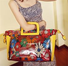 VT395 2015 retro design korean fashion flower printing jelly bags for women