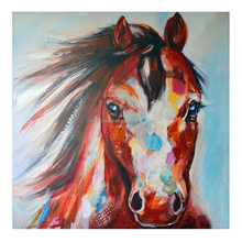 Hand Painted Modern Animal Horse Head Oil Painting on Canvas Prints