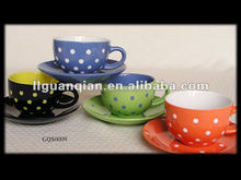 Ceramic Coffee Mugs with Saucer with Dots 200cc