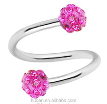 Body Piercing navel ring eyebrow ring S-shaped ball full of diamond navel ring more with Shambhala style body jewelry