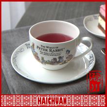 Promotional items china porcelain golden rim white mug with saucer