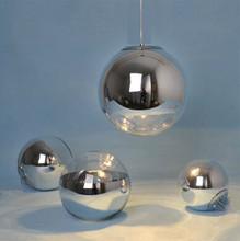 New Modern Tom Dixon Mirror Glass Ball Pendant Light Chrome Color Vacuum Lustre Pendant Lamps kitchen fixture Lighting