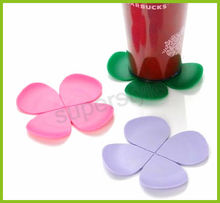 Silicone flower Shaped pink Cup Coaster, Modern Kitchen Accessory