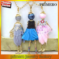 French Doll Pendant Long Chain Necklace Dress Fabric Handmade Flower Jewelry For Women