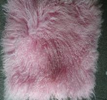 pink Mongolian sheep fur skin long haired sheep fur skin