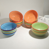colorful rainbow ceramic hand painted bowl for wholesale
