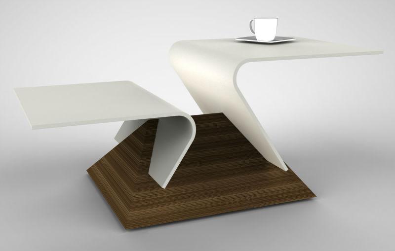 table basse moderne de dupont corian et le bois table en. Black Bedroom Furniture Sets. Home Design Ideas