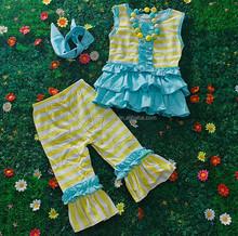 Wholesale new arrival boutique remakes aqua ruffle stripe baby clothing sets M5050607