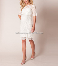 Women fashion elegant lace half long sleeve maternity wedding dresses
