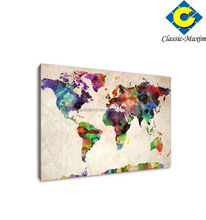 Colorful world map luxury canvas art supplies
