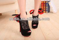 Black diamond-studded bowknot high heel sandals Peep Toe Platform crystal Pumps PZ2342