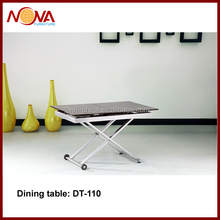 2015 the most popular tempered glass with steel legs expandable dining table for sale