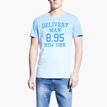 delivery men printed light blue u neck t shirts wholesale