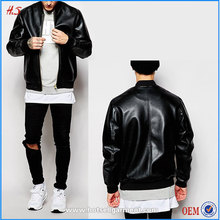 Man wear supplier good quality new fashion wholesale black wholesale bomber faux leather jacket