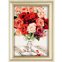 2015 Rose flower Canvas Oil Painting for Wedding Decoration