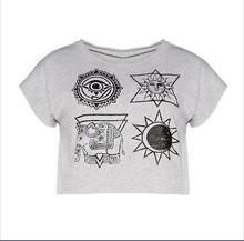 New Arrival Crop Tops Cropped Short Sleeve O Neck T Shirt Women Clothing Geometric Tropical Print Women T-Shirts