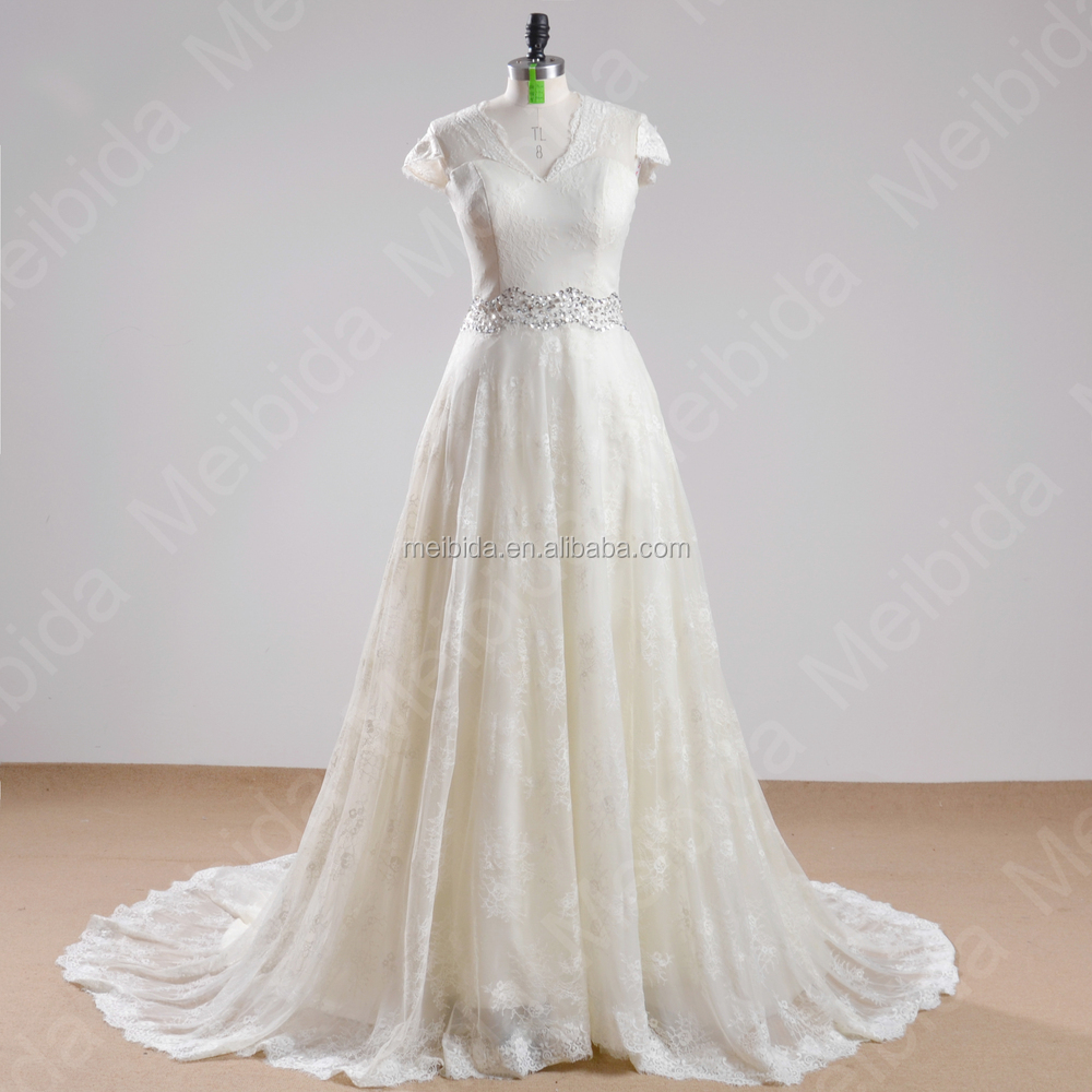 Wholesale Noble Long Train Bridal Gown White And Beige Colored Short Sleeve Princess Wedding