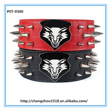 New Products On China Market Luxury Large Spiked Dog Collar With Wolf Head Print