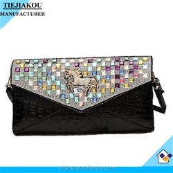 China wholesle oem crocodile leather evening bag with horse
