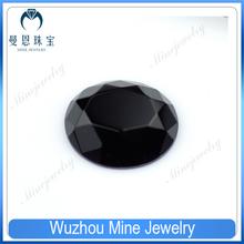 Flat bottom faceted round cut black glass bead gemstones