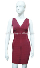 damas occidentales ropa formal vestido de noche rojo vendaje vestido de noche