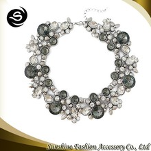 2015 Fashion beaded collar necklace jewelry decoration sterling silver choker collar necklace plated collar necklace