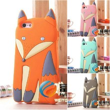Free Shipping Novelty Lovely 3D Cute Silicone Cartoon animal Fox soft cover Case for iPhone 4 4S iphone4,100pcs/lot
