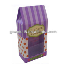 hot sale custom made cardboard printing cupcake boxes with window,for cupcakes,cakes packaging